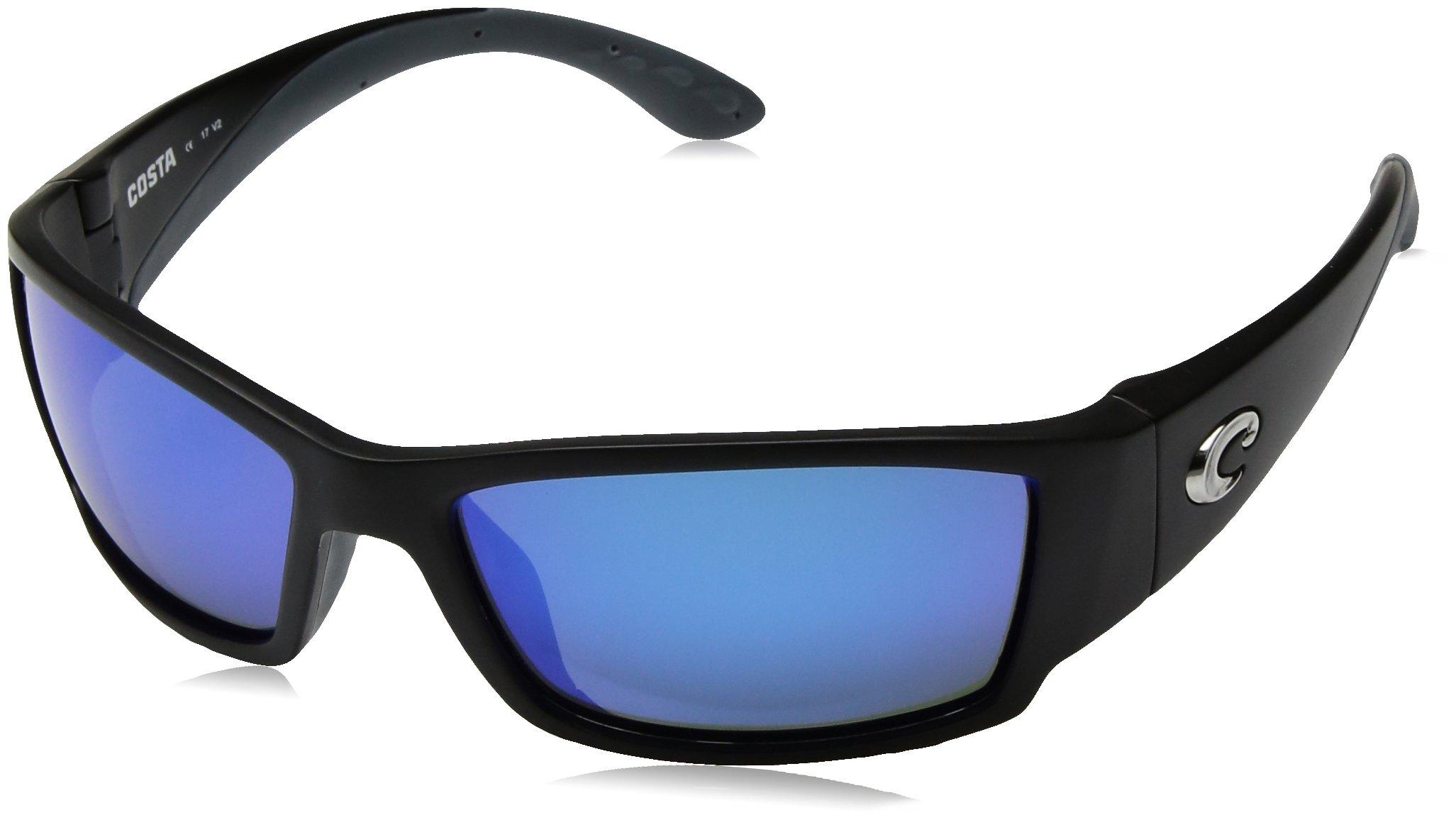 COSTA DEL MAR Corbina Polarized Wrap Sunglasses, Black, 61.2 mm by Costa Del Mar