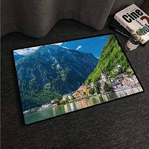 HCCJLCKS Outdoor Doormat Landscape Natural View of Hallstatt in Austria Mountains Forest Town Houses Clear Sky Suitable for Outdoor and Indoor use W31 xL47 Green Blue White
