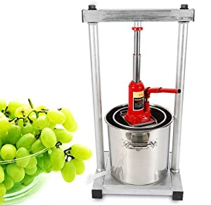 GUANG 12L Fruit Crusher, Stainless Steel Wine Juice Press Grinder Manual Grape Pulp Apple Cider Juicers Squeezer with Hydraulic Jack