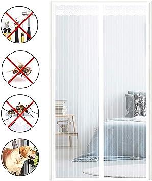 COUEO Cortina Mosquitera Magnetica, Mantiene Los Mosquitos De Insectos Fuera Verano Cortina MagnéTica para Puertas Correderas/Balcones/Terraza - Blanco 120x250cm: Amazon.es: Hogar