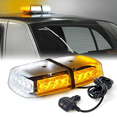 Xprite White Amber Yellow 24 LED Roof Top Mini Bar Strobe Light w/Magnetic for Law Enforcement Emergency Vehicles Truck CarSnow Plow Safety Hazard Caution Warning Flashing Beacon Lights: Automotive