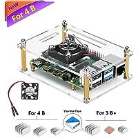 iuniker Raspberry Pi 4b Case, Raspberry Pi 4 Case with Fan Raspberry Pi Heatsink Raspberry Pi Fan Raspberry Pi Case for Raspberry 4 Model B/Pi 4b (Clear-B)