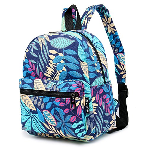 (Lightweight Canvas Mini Backpack for Women, Teens (Leaf Blue Small V2))