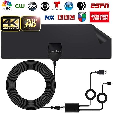 pendoo Antena de TV, interior reforzada, antena HDTV, antena de TV, alcance de 40 millas con amplificador desmontable y cable coaxial de 13,2 pies