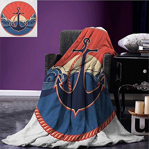 Anchor summer blanket Navy Label with Robe and Sea Waves at Sunset Anchor Retro Aquatic Life Icons Flannel Red Blue Yellow size:59