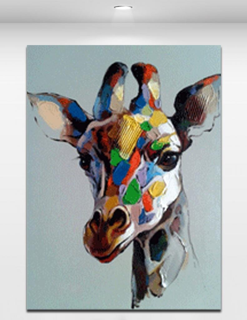 799bb057471cf Colorful Giraffe's Head - Cartoon Animal Hand-painted Oil Painting On  Canvas For Modern Home Decoration Wall Art Size 2836