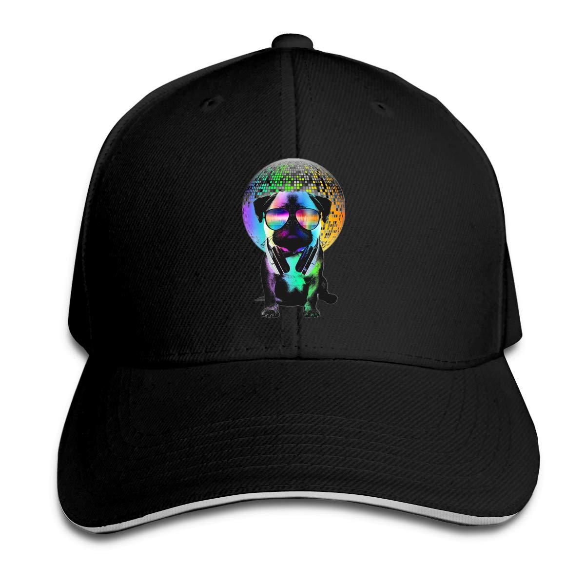 Disco Pug Classic Adjustable Cotton Baseball Caps Trucker Driver Hat Outdoor Cap Black