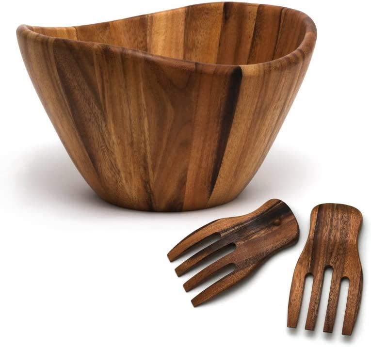 """10/""""Dia x 4/""""H Serving Bowl Brown Wood Look Plastic"""