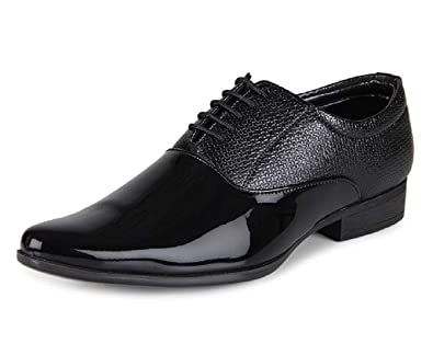 984868548358 COVERFOX with Device CF Men's Patent Leather Lace Up Formal Shoes (10,  Black)