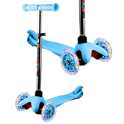 YUEBO Kick Scooter for Toddlers & Kids/Non-Batteries LED Light Up Scooter/ 3 Wheels Height Adjustable Scooter/Grils Boys Scooter Suitable for Children ...