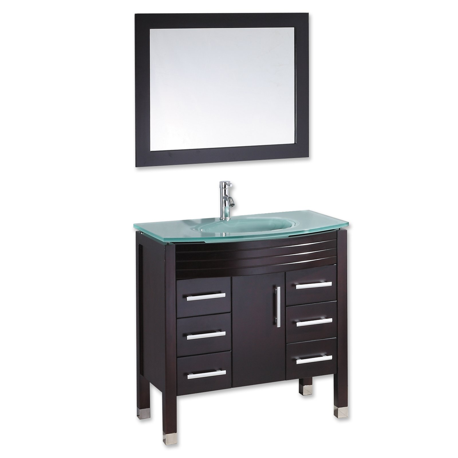 36 Inch Espresso Wood & Glass Single Basin Sink Bathroom Vanity Set-''Cyrus'' by The Tub Connection