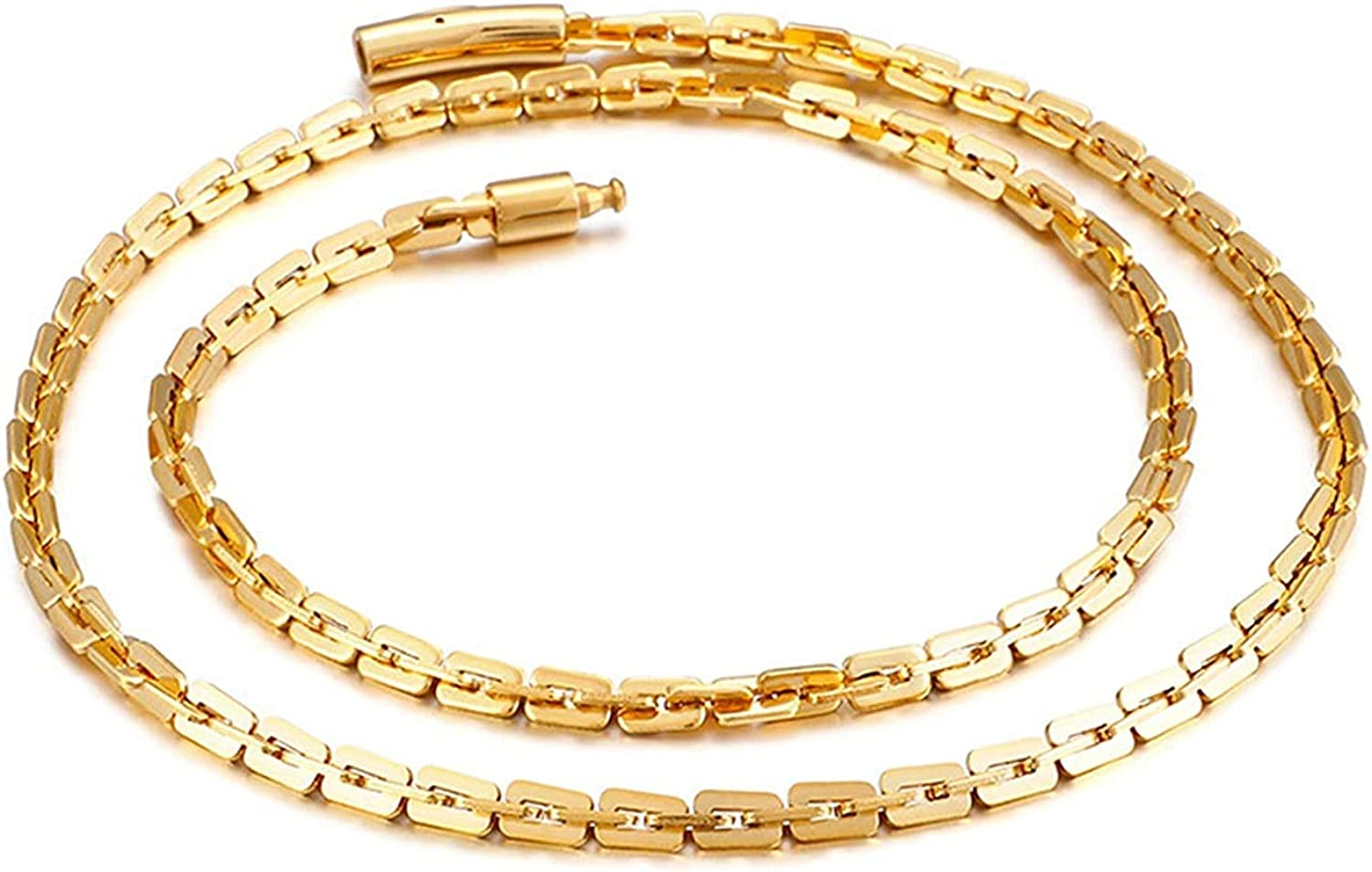 LOPEZ KENT Men Stainless Steel Necklace Oval Curb Chain Black//Gold//Grey