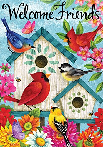 Welcome Friends & Birds in Birdhouses Flags & Matching Mailbox Cover - Tina Wenke Design (House Flag - (Birdhouses House Flag)
