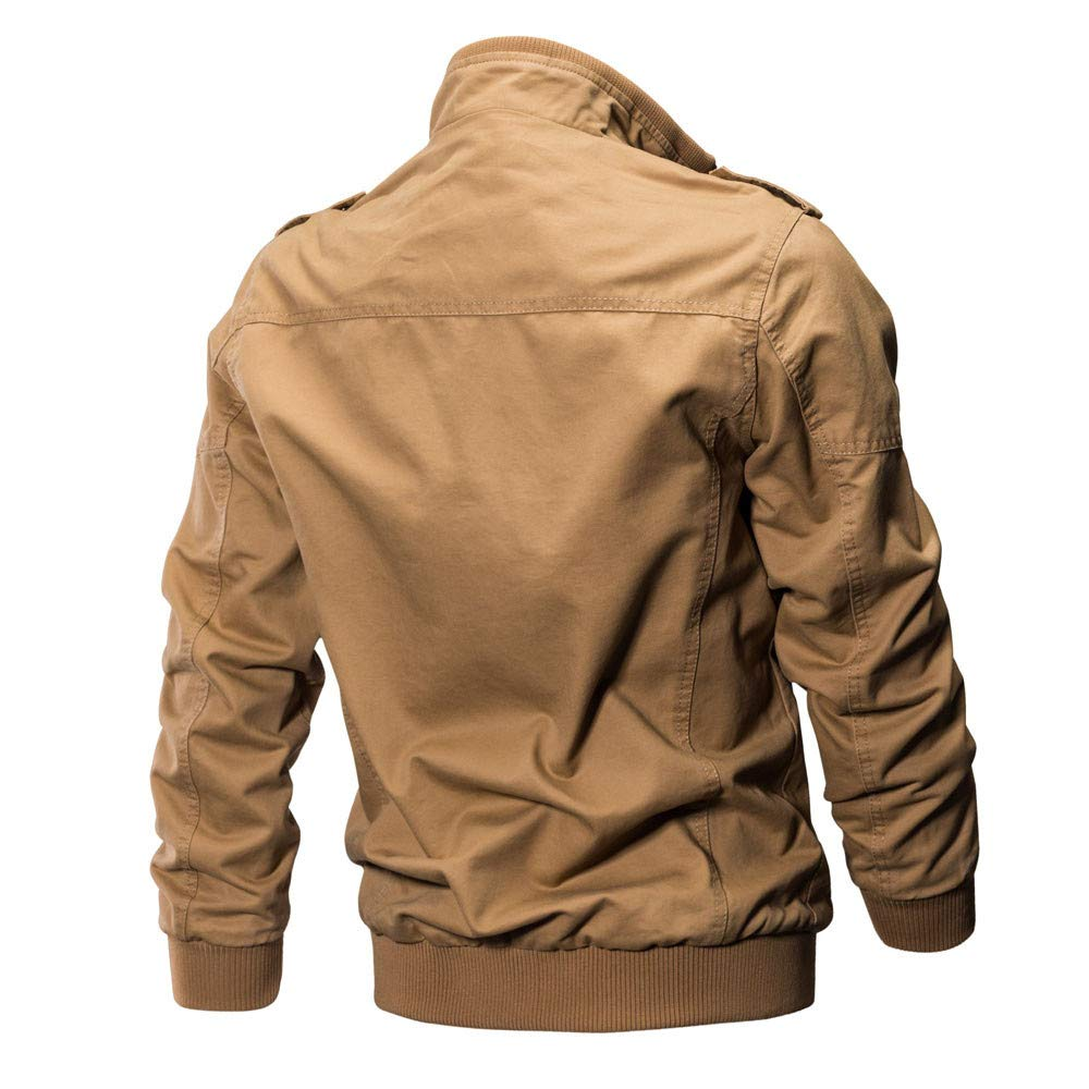 Amazon.com: KFSO Mens Casual Winter Cotton Military Jackets Outdoor Coat Windproof Windbreaker (Khaki, M): Kitchen & Dining
