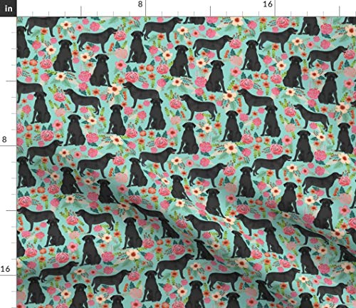 Spoonflower Black Lab Fabric - Florals Fabric Labrador Retriever Floral Dog Pet Portrait Gift Print on Fabric by The Yard - Petal Signature Cotton for Sewing Quilting Apparel Crafts Decor