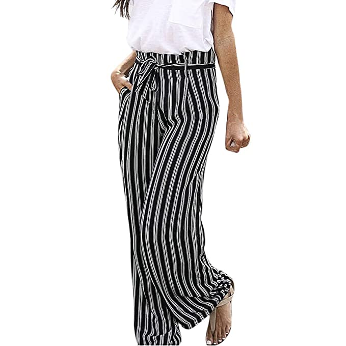 3a62f676421ec4 Hemlock Women Wide Leg Pants Ladies Office Work Trousers Stripe Print Pants  Belt Bandage Long Pants