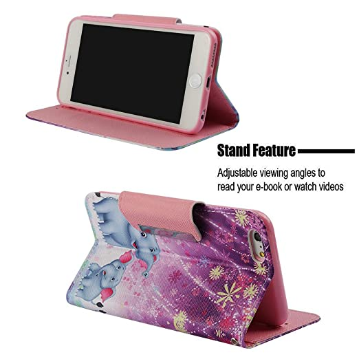 Amazon.com: Firefish iPhone 6/6S Case,[Shockproof] Durable 3D Printing PU Leather [Kickstand] Wallet Case Inner Rubber Bumper Full Protective Cards Holder ...