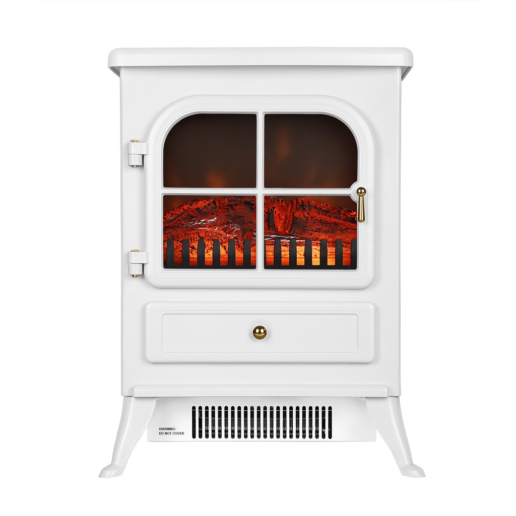 Finether 1800W Freestanding Electric Fires Modern Fireplace Portable Stove Heater with Openable Door/Realistic Flame and Real Logs Burning Flame Effect/White For living Room Bedroom