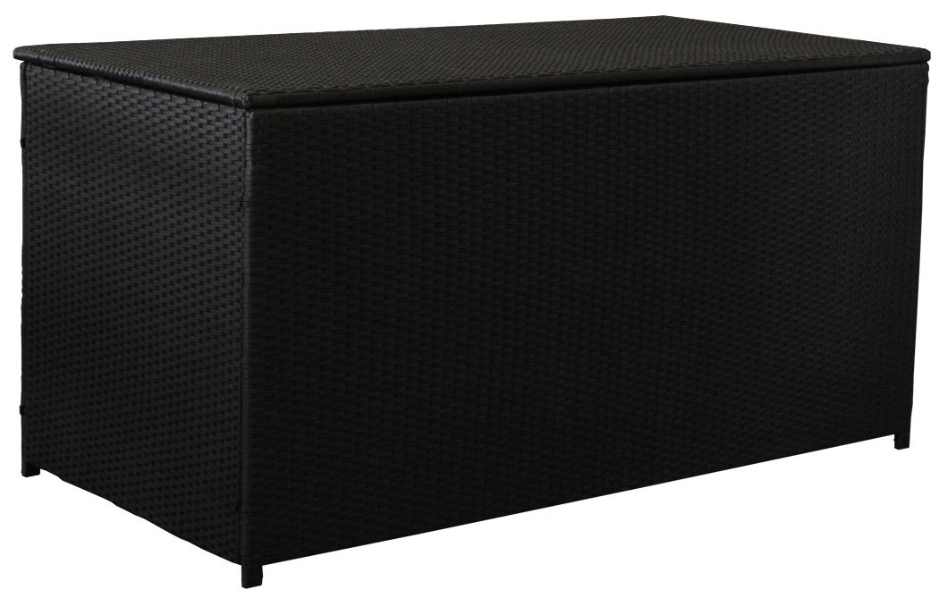 KMH®, Extragroße Kissentruhe/Kissenbox Emma XL aus schwarzem Polyrattan Auflagenbox Lounge (4 String) (#106149)