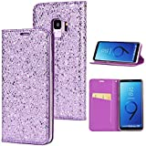 Stysen Galaxy S9 Flip Case,Galaxy S9 Glitter Wallet Case,Elegant Noble Stylish Purple Ultrathin Secure Magnetic Closure Shiny Glitter Sparkle Bling PU Leather Bookstyle Soft Silicone Inner Tpu Case with Card Slots Pouch and Stand Function Folio Buckle Wallet Protective Case Cover for Samsung Galaxy S9-Purple