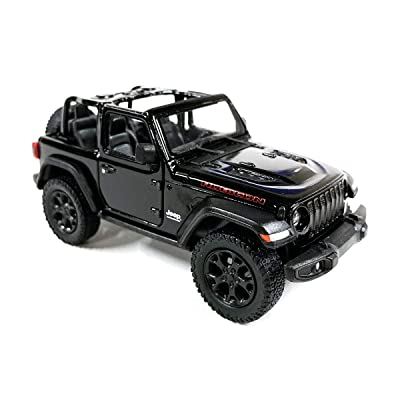 HCK Jeep Wrangler Rubicon 4x4 Convertible Off Road Exploration Diecast Model Toy Car Black: Toys & Games