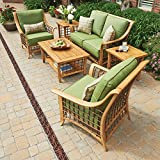 6-piece Patio Furniture Set Conversation Set with Premium Sunbrella Fabric Deep-seating Chairs Seat Loveseat with Plush Cushions Side Table and a Table with Shelving Shelf