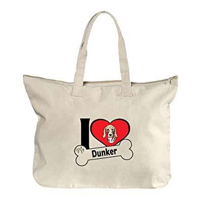 outlet I Love My Dunker Dog Style 2 Canvas Beach Zipper Tote Bag Tote e53b5ffac457d
