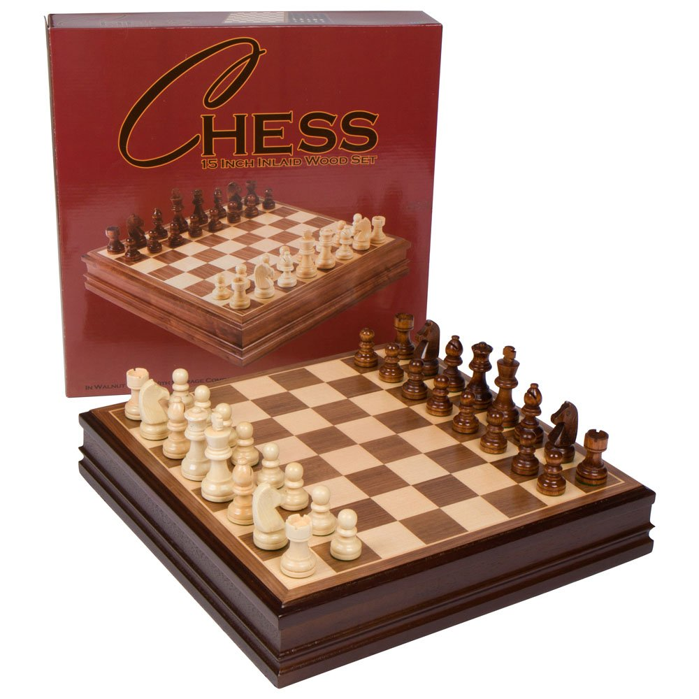 Amazon.com: Best Chess Set Catherine Chess Inlaid Wood Board Game With  Wooden Pieces   15 Inch Set: Home U0026 Kitchen
