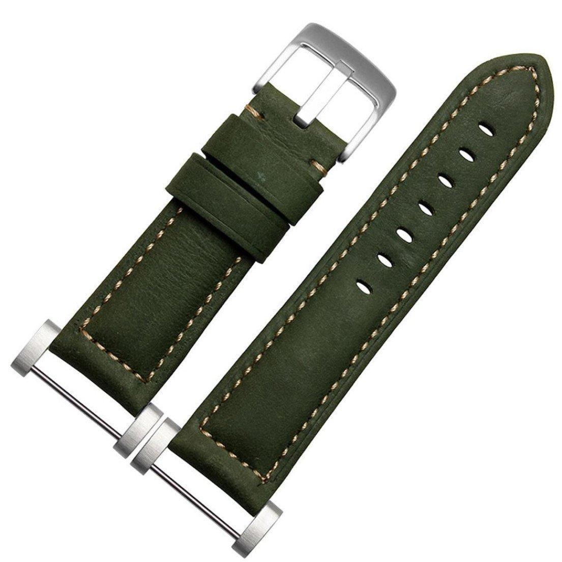 AloneA GenuineLeather Watch交換用バンドストラップ+ラグアダプタfor Suunto Core グリーン グリーン B01LZCPEXM
