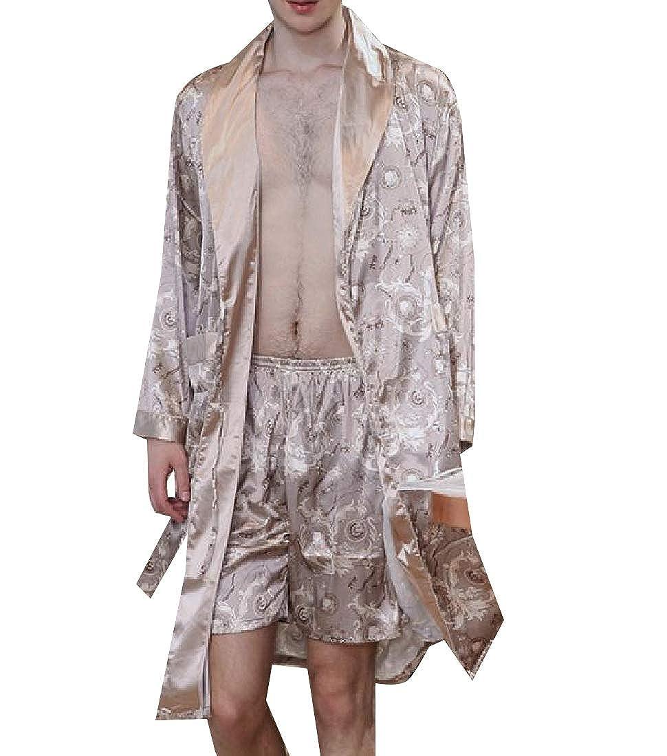 Losait Mens Soft Silky Charmeuse Long-Sleeve Bathrobe Luxurious Sleep Robe