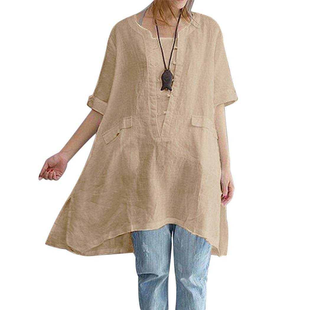 Aurorao Women Summer Short Sleeve Irregular Cotton Tops T-Shirt Blouse Plus Size