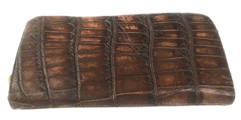 (ラクセル)LUXCEL クロコダイル本革 ラウンドファスナー 長財布 B01MYC33WCアンティークブラウン