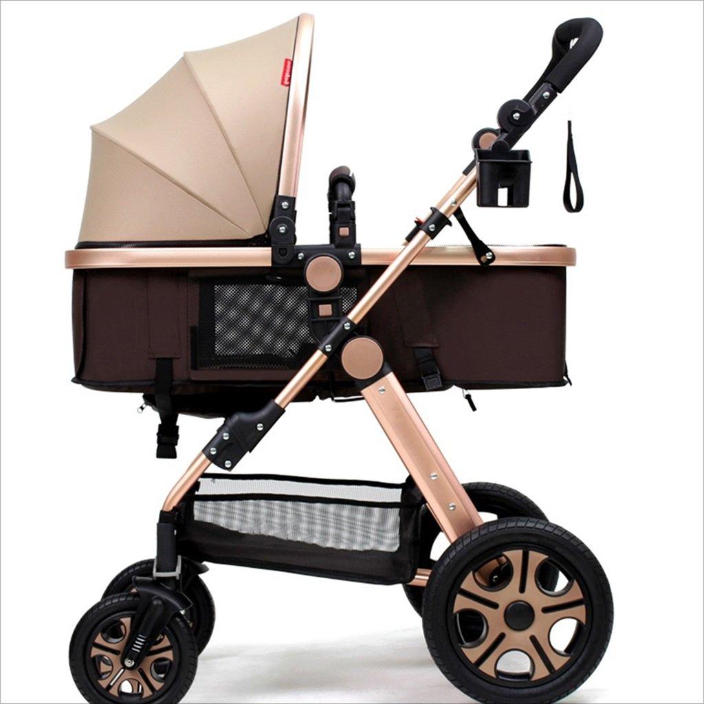 新生児の赤ちゃんキャリッジ折りたたみ可能な座って、1ヶ月のためのダンピングの赤ちゃんカートに落ちることができます 3歳の赤ちゃんの双方向四輪ベビートロリーを振るのを避ける (色 : カーキ) B07DVHFSW2カーキ