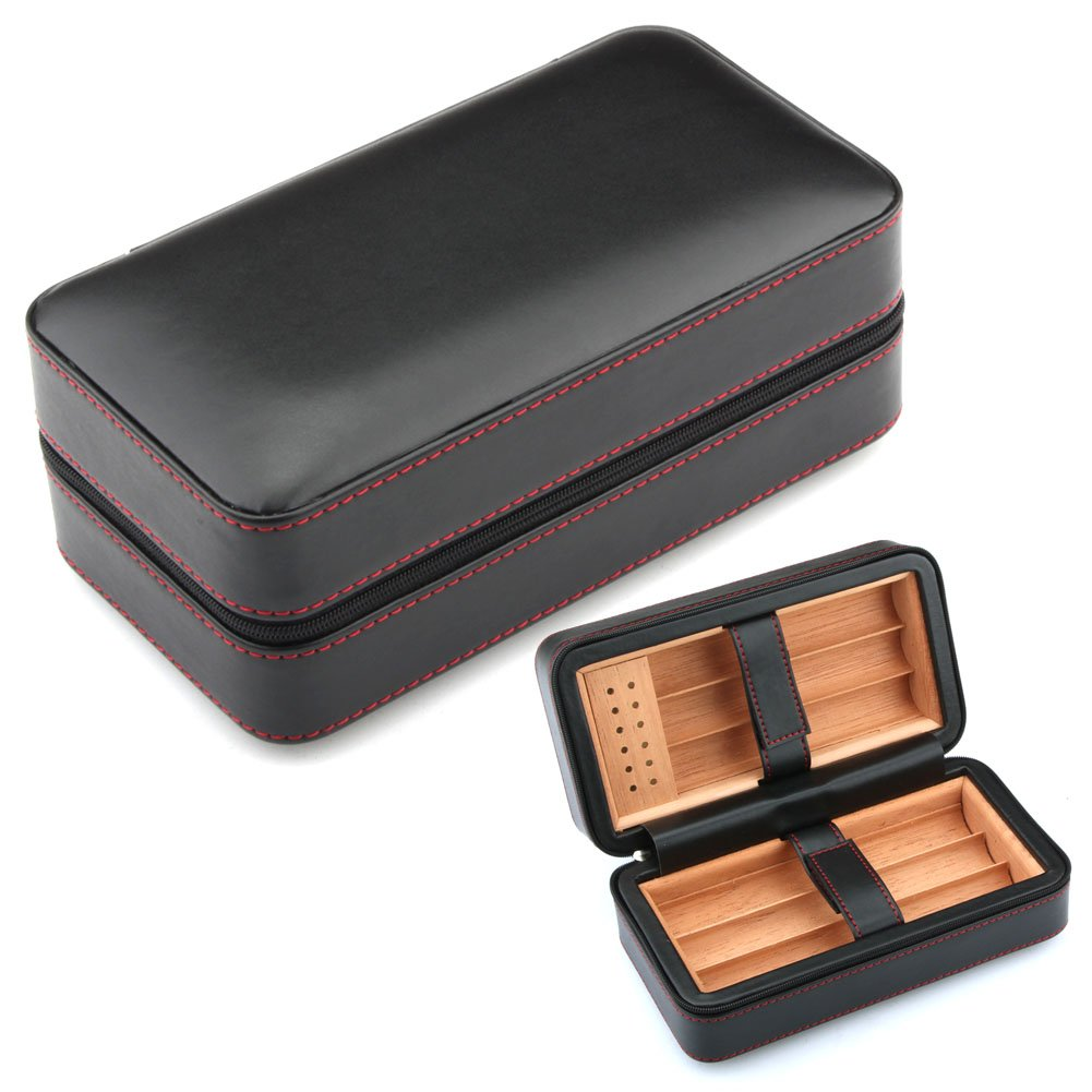 GALINER Cigar Humidor, Cigar Case, Spain Cedar Wood Travel Leather Cigar Humidor Humidifier (Black)