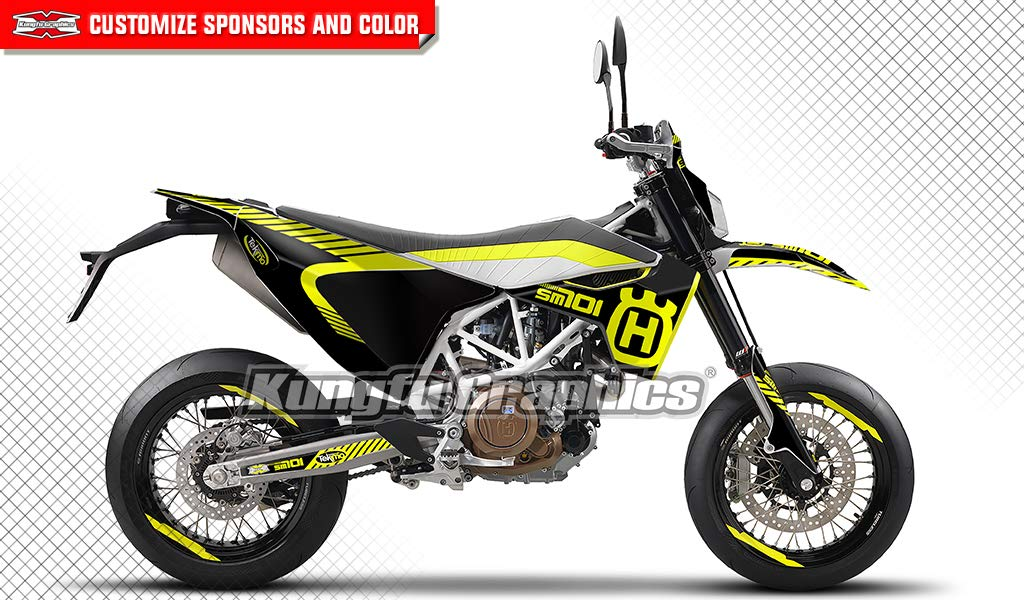 Kungfu Graphics Rockstar Custom Decal Kit for Husqvarna SM 701 Supermoto 2016 2017 2018, Blue White Yellow COMINU033269