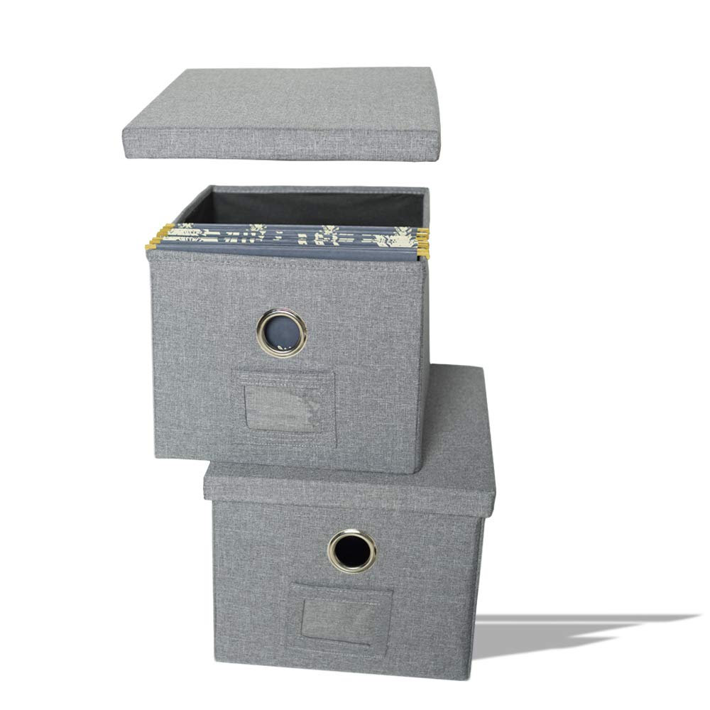 ATBAY Storage File Box with lids Large Capacity File Organizer for File Folder Litter Size, Gray(2PACK) by ATBAY