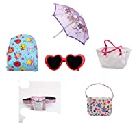 Eric∋cole 6Pc Doll Dress Accessories Set.Backpack Bag Handbag Sunglasses Umbrella Accessories for 14 to18 Inch Gir Doll