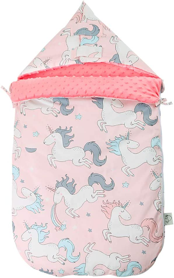 AIMIUKIDS Baby Sleeping Bag Infant Stroller Receiving Dream Blanket with Anti-Shock Soft Minky Dot for 0-12 Month Baby Winter,Horse,Pink