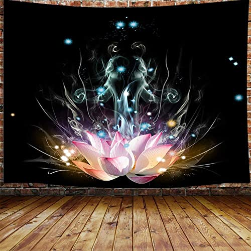 JAWO Trippy Lotus Flower Large Tapestry, Pink Floral on Black Meditation Tapestry Wall Hanging for Bedroom, Fantasy Hippie Yoga Tapestry Beach Blanket College Dorm Home Decor 90 W X 70 H
