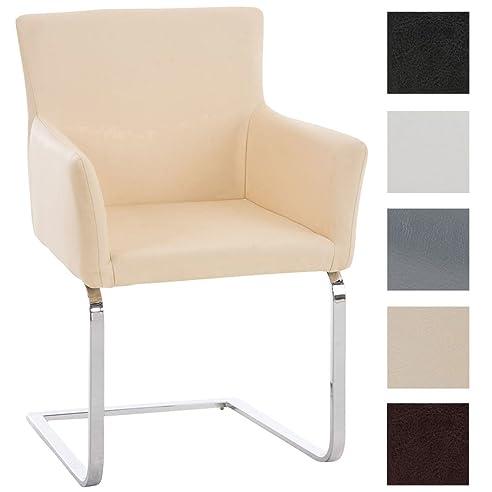 Superior CLP Freischwinger Stuhl PIRUS Mit Armlehne, Gepolstert, Modern, Sitzhöhe 49  Cm Creme Ideas