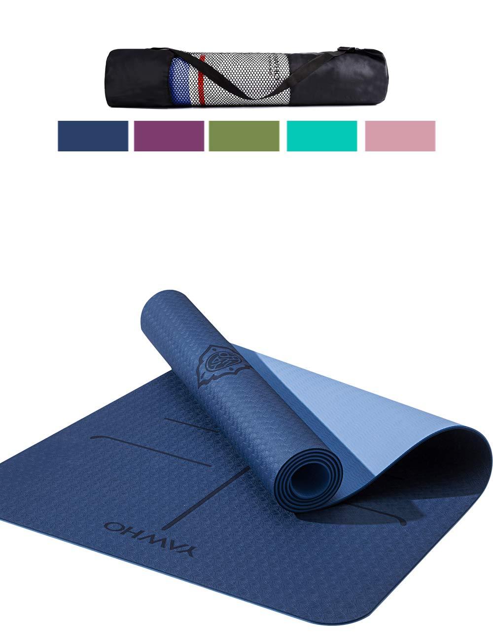 YAWHO Colchoneta de Yoga Esterilla Yoga Material medioambiental TPE,Modelo:183cmx66cm Espesor:6milímetros,Tapete de Deporte Grande y Antideslizante,Correas ...