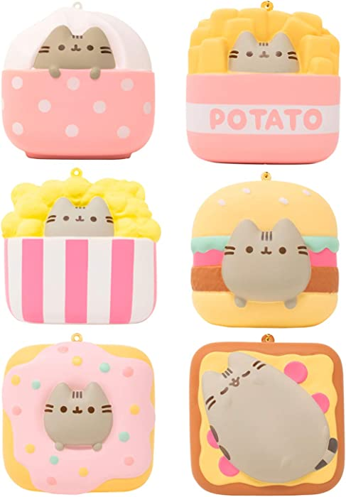 Hamee Pusheen Cat Official Licensed Junk Food Slow Rising Squishy Toy [Square Series] (6 Piece Set, 3 Inch) [Birthday Gift Bags, Gift Box, Party Favors, Gift Basket Filler, Stress Relief Toys]