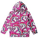 uideazone Kids Girls Long Sleeve Hooded Sweatshirt 3D Rainbow Unicorn Cloud Printed Zipper Hoodies Casual Graphic Jacket Coat 6-8 Years