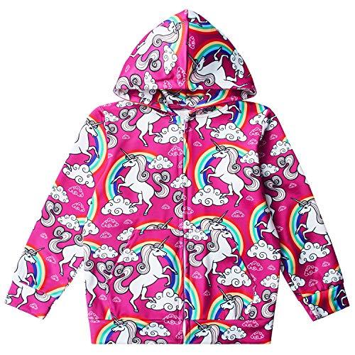 Funnycokid Little Girl Rainbow Unicorn Novelty Hoodie Zipper Sweatshirts Birthday Hooded Jumper