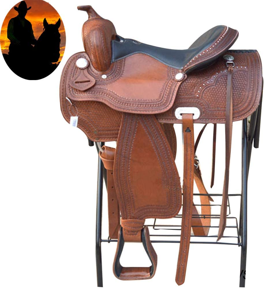ZTCWS All Natural Cowhide Western Leather Saddle, high-end Comfortable Ride Track Barrel Racing, Hand Tool Advanced Saddle Set Rope Bust