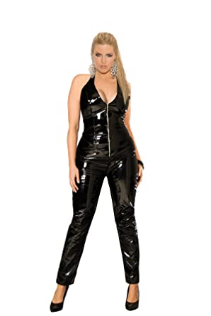 Amazon.com: Elegant Moments Women's Plus Size Vinyl Catsuit with ...
