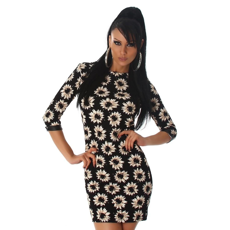 Jela London Damen Strickkleid | Kleid mit Blumenmuster | 3/4 Ärmel | Reißverschluss am Rücken