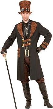 Amakando Outfit Victoriano Steampunk para Hombre / Marrón-Negro L (ES 52) / Elegante Chaqueta gótica con Camisa y Sombrero de Copa / El Centro de atención para Carnaval y Noches temáticas: Amazon.es: