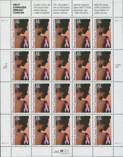 Breast Cancer Awareness Sheet of Twenty 32 Cents Postage Stamps Scott 3081 by - Sunglasses Cancer