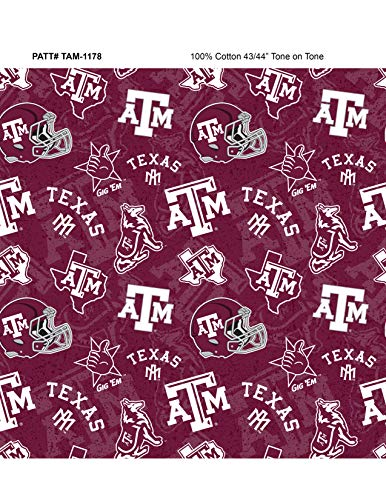 Texas A&M University Cotton Fabric with New Tone ON Tone Design Newest Pattern